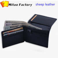 New Fashion Luxury Black Sheep Leather Card holder Wallet With Coin Bag Pocket Purse Free Shipping