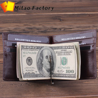 Holiday selling ! Free shipping wallet holder men women genuine Italy vegetable cow leather wallet purse money clips