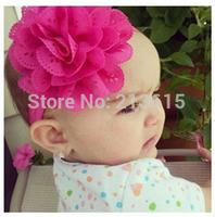 1PCS Retail Baby Flower Headband / Girls Flower Hair Bow / Baby Girl eyelet flower Headband / 12 color Free shipping D3