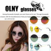 European and American vintage small round sunglasses star models colorful reflective  tide mirror Prince Oculos de sol