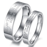 Fashion Jewelry Set His And Hers Promise Wedding Ring Sets 316L Stainless Steel Couple Rings Comfortable Smooth Wear Fit