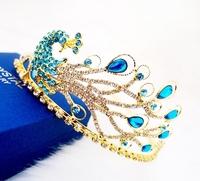 2013 Peacock Rhinestone Crystal Tiara Crown Vintage Bride Quinceanera Wedding Crowns Pageant Hair Jewelry Accessories WIGO0110