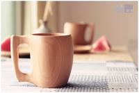 Japanese style solid wood water cup endulge wood cup one piece wool handle mug beer mug