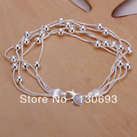 2014 Hot Selling  925 Silver  Five line light bead bracelets & bangles 20CM Free Shipping