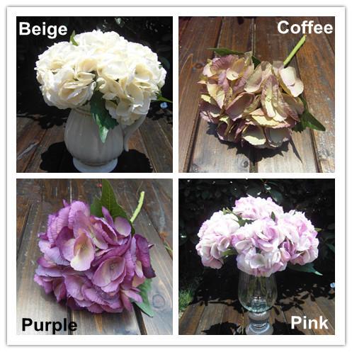 """Atacado 200 pçs/lote conchas europeus pintura a óleo Hydrangea 5.5 """" cabeça de flor Artificial flores de seda Home Office flores de exibição(China (Mainland))"""