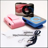 Free DHL 50pcs Mirror Clip MP3 player + earphone +USB cable  with TF Slot 8 colors in stock