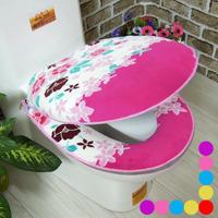 Bathroom Flower Coral fleece thickening toilet 2pcs set zipper toilet seats toilet mat toilet cushion cover thermal potty sets