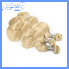best New Star #613 bleach Blonde Brazilian Remy Human Hair body wave weaves wavy extensions machine weft 3 bundles free shipping(China (Mainland))