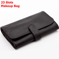 High Quality Makeup Brushes Bag Pouch for 23pcs Brushes Cosmetics Bag Black Grainy PU Leather Free Shipping