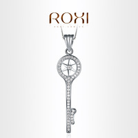 103005666 ROXI Exquisite Retro Key necklace platinum plated with AAA zircon,fashion Environmental Micro-Inserted Jewelry,