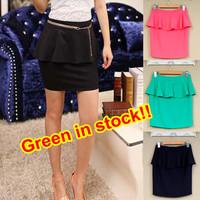 8 Colors 2015 Fashion Sexy Ruffled High Elastic Peplum Skirt Skinny Short Skirt For Women Girl Pencil Skirt 197302