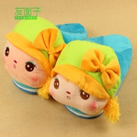 Free shoping Cotton-padded female package with cartoon slippers platform at home tv girls thermal slip-resistant