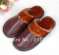 winter warm plush genuine leather slippers for men