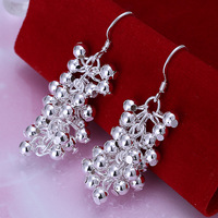 2013 Nov New! Wholesale Free shipping 925 sterling Fashion earring,grape earrings silver jewelry SPE008