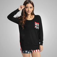 British Flag Pattern Pocket Knitted Pullover Sweaters 2014 New Year Casual Loose Batwing Sleeve Split Top Clothing Black