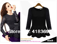 2013 European Brand Design Tops Fashion  Women Fashion Sexy Lace T-shirt Plus Size Free Shipping