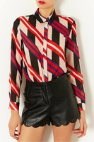 2014 new European style suit tie striped long-sleeved shirt printing Female