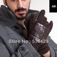 2013 new Autumn-winter Brands add antiskid warm velvet thickening ski gloves men,genuine leather ski gloves men free shipping