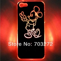New Sense Mickey Skin Flash light LED Colors Changing Case Cover for iPhone 4 4S 5 5S Free shipping & wholesales 50pcs/lot