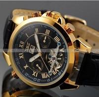brand JARAGAR Gold leather strap mechanical watches tourbillon dual calendar casual Multifunction Business men sports watches.