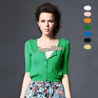 2013 Fashion New Lady Sweet Pure Color Tops Middle Sleeve Knitted Short Sweater Light Cardigan 16256