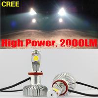 Set H8 25W+10W CREE LED High Power Car Truck White Headlight Fog Bulb DRL 2000LM 12V