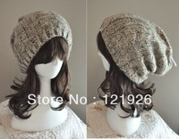 New Yellow Gray Beanie Hat Beret Winter Warm&Thick Knit Acrylic Cap Womens