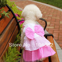 Fashion Cute Pink White Pet Dog Puppy Bow Multillayer Princess Dress Clothes New Free shipping&DropShipping