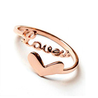 Rose Gold Plated Love Heart Opening Ring retail