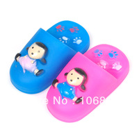 Funny Pet Puppy Dog Cat Sound Squeaky Rubber Doll Slippers Cute Chewing Toys  Free shipping&DropShipping