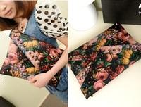 2013 Hot New Fashion Flower Oil Painting Clutch Bag Rivets Envelope Handbag Color Block Women Vintage Bags 18494