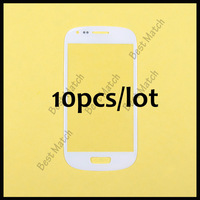 10pcs/lot Big stock White Front screen glass lens for Samsung Galaxy SIII S3 Mini i8190 Free shipping