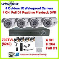 4CH Full D1 H.264 DVR Kit Day Night Vision Security 700TVL 36pcs IR LEDs Camera Surveillance Video System DIY CCTV Camera System