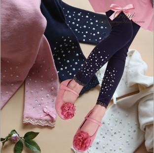 5pcs/lot girls spring autumn lace and Hot drilling leggings kids princess cotton skinny bow legging 646(China (Mainland))