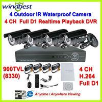 2013 New HD 900TVL 960H 4CH Full D1 H.264 DVR Kit Security 36pcs IR LEDs Camera Surveillance Video System DIY CCTV Camera System