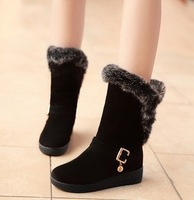 2013 new winter Rabbit hair Snow boot  Euramerican To keep warm Cotton boots Female boots Big yards Single boots (XZ074)