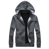 Brief fashion faux two piece male outerwear double front fly color block men's fashion clothing outerwear with a hood sweatshirt