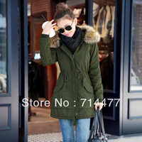Thickening female cotton-padded jacket clothes wadded jacket women's thermal winter fur collar overcoat cotton-padded jacket