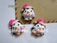 Wholesale Christmas Pink Penguin, Resin Flatback Cabochons for Embellishment, Hair Bow Center, DIY, Free Shipping