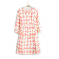 Women Fashion Houndstooth O-neck Three quarter  Sleeves Slim fit  Dress Lady Elagant  Knee Length Dress DR3036-A03