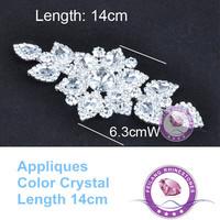 High Quality New Design Rhinestones Applique Silver Fashion Chain Sewing On Bridal Applique