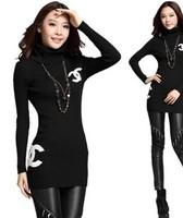 Free shipping 2014 autumn women's pullover medium-long thickening slim turtleneck sweater Women sweater  basic sweater