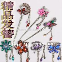 6pieces/lot high fasion hair accessories Rhinestone presious stone  hair sticks ,jewelry for women