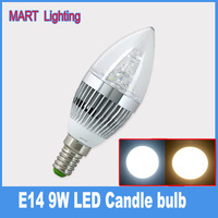 New E14  9W LED candle light Bulbs  high quality crystal chandelier lamp