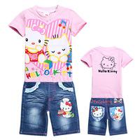 Retail New 2015 autumn-summer Costumes Kids Clothes Sets Hello Kitty Children T shirts + Denim Shorts Baby Girls Clothing Sets