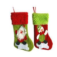 Wholesale fabric cartoon christmas santa and snowman pattern socking sock Christmas gifts decorations