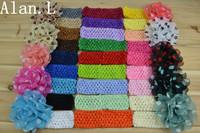 Wholesale beautiful 26 Crochet Headbands and 10 Dot Soft Chiffon Daisy Flower for baby girls