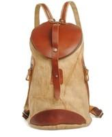 Cylindrical package Vintage linen canvas shoulders bag College Wind little fresh backpack girl
