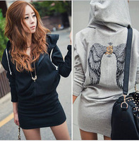 Women Autumn Europe Hooded Dress Casual Sweater Dress Printing  Wings
