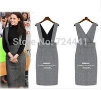 Wool skirts braces career medium skirt women winter fashion woolen and suit tailored step high waist skirt S to 4XL